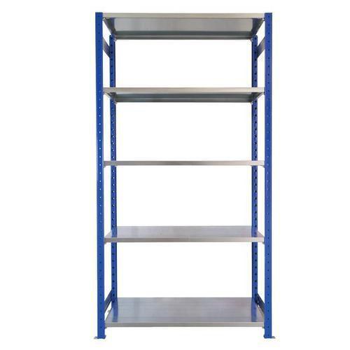 Kovový regál, základní, 200 x 100 x 40 cm, 2 000 kg, 5 polic, modrý