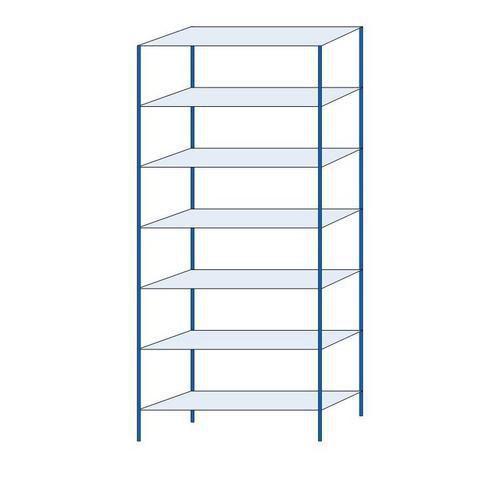 Kovový regál, základní, 300 x 130 x 40 cm, 2 000 kg, 7 polic, modrý