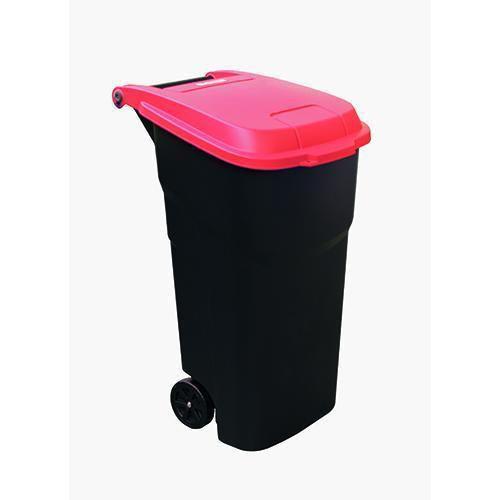 Plastová venkovní popelnice Manutan na tříděný odpad, objem 100 l, víko červené