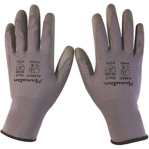 Nylonové rukavice Manutan s terčíky polomáčené v polyuretanu, šedé