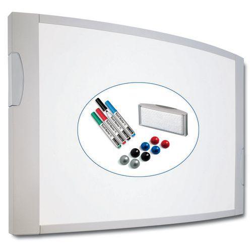Bílá magnetická tabule Crocus, 90 x 120 cm, šedé doplňky