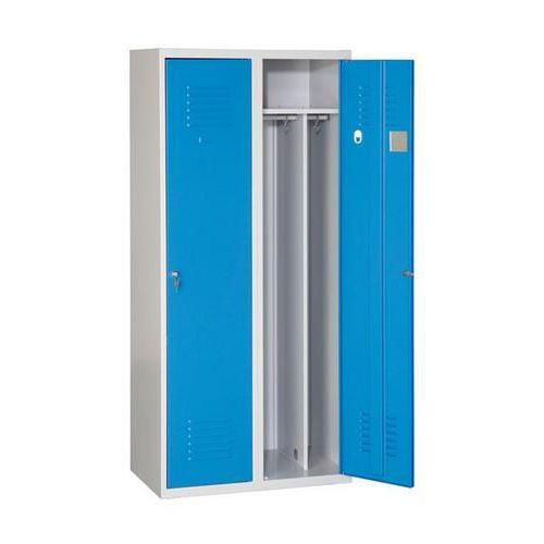 Svařovaná šatní skříň Arthur, 2 oddíly, šedá/modrá