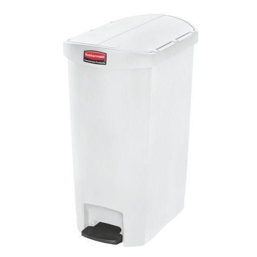 Plastový odpadkový koš Rubbermaid End Step, objem 50 l, bílý - Prodloužená záruka na 10 let