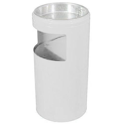 Kovový odpadkový koš s popelníkem, objem 20 l, bílý