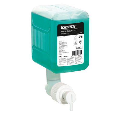 Tekuté mýdlo Katrin na tělo a vlasy, náplň do dávkovačů Katrin, 0,5 l, 12 ks