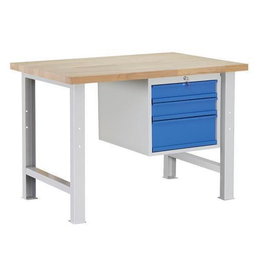 Dílenský stůl Weld se 3 zásuvkami, 84 x 120 x 80 cm, šedý