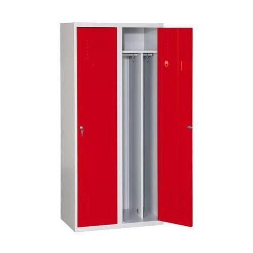 Svařovaná šatní skříň Arthur, 2 oddíly, šedá/červená