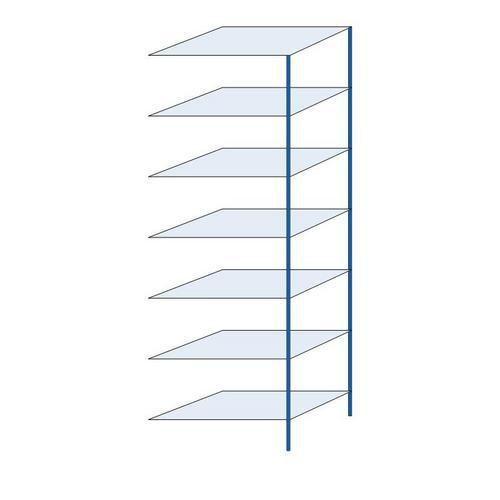 Kovový regál, přístavbový, 300 x 100 x 60 cm, 2 000 kg, 7 polic, modrý