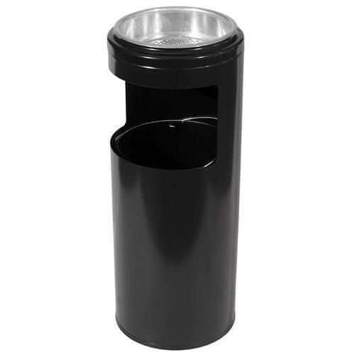 Kovový odpadkový koš s popelníkem, objem 10 l, černý