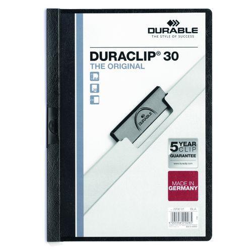 Rychlovázací desky DuraClip, 20 ks, kapacita 30 listů, černé