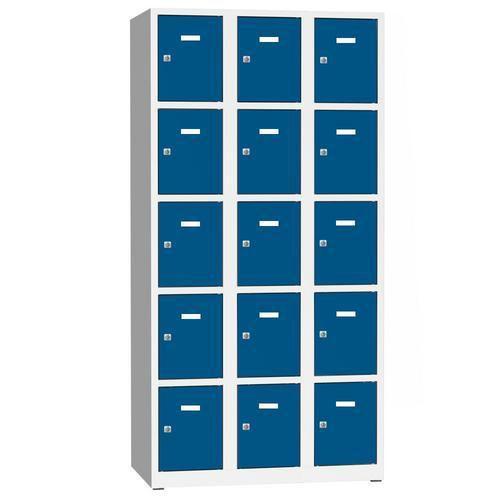Svařovaná šatní skříň Philip, 15 boxů, cylindrický zámek, šedá/modrá