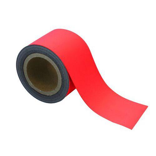 Magnetická páska na regály Manutan, 10 m, červená, šířka 90 mm