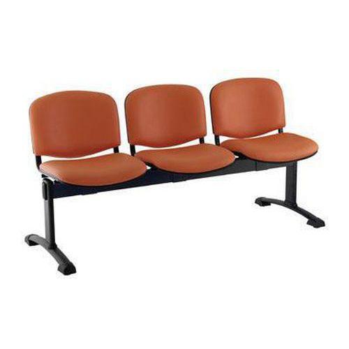 Koženková lavice Ida, třímístná, oranžová