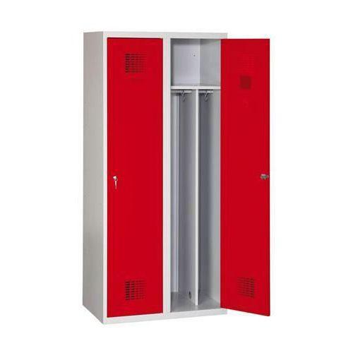 Svařovaná šatní skříň Drake odlehčená, 2 oddíly, šedá/červená