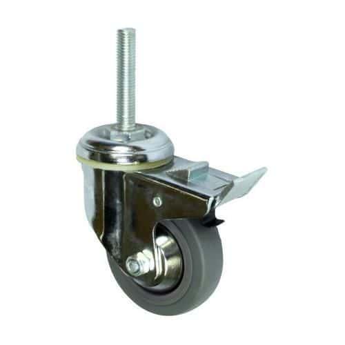 Gumové přístrojové kolo s čepem, průměr 80 mm, otočné s brzdou, kluzné ložisko