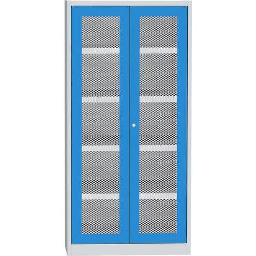 Skříň na kapaliny s drátěnými dveřmi, modro/šedá, 1950x950x500 m