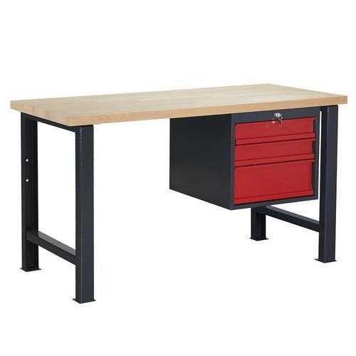 Dílenský stůl Weld se 3 zásuvkami, 84 x 150 x 68,5 cm, antracit - Prodloužená záruka na 10 let