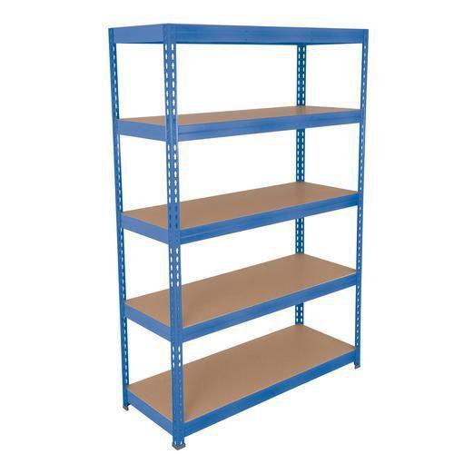 Kovové regály Rapid 3, 180 x 150 x 30 - 60 cm, 1 500 kg, 5 dřevotřískových polic, modré