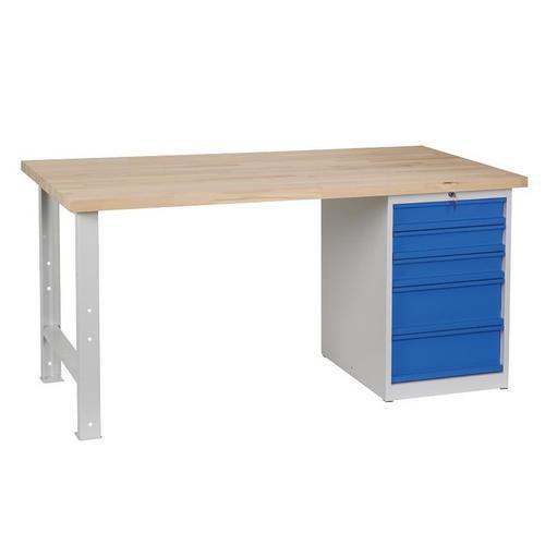 Dílenský stůl Weld s 5 zásuvkami, 84 x 170 x 80 cm, šedý