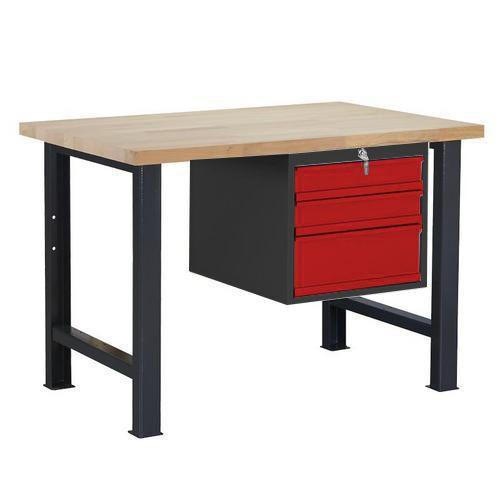 Dílenský stůl Weld se 3 zásuvkami, 84 x 120 x 80 cm, antracit
