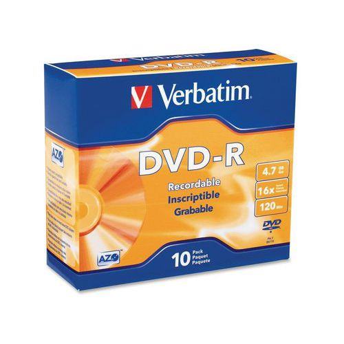Verbatim DVD-R 4,7 GB 16x, AZO, slim box, 10 ks