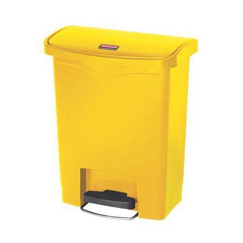Plastový odpadkový koš Rubbermaid Front Step, objem 30 l, žlutý