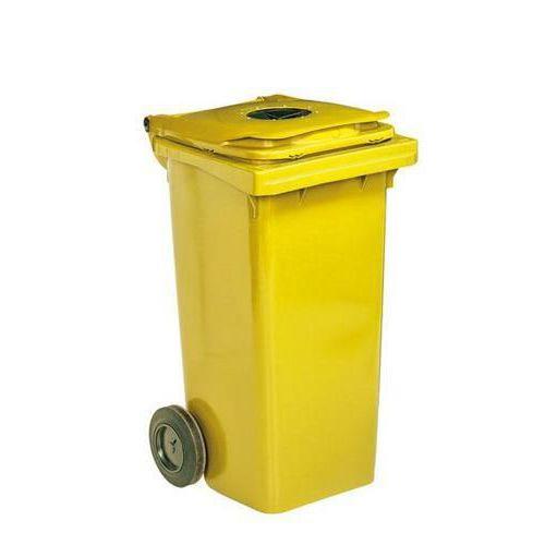 Plastová venkovní popelnice na tříděný odpad s otvorem, objem 240 l, žlutá