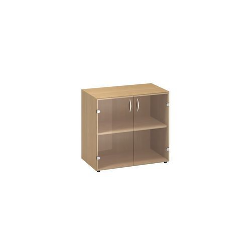 Nízká široká skříň Alfa 500, 74,2 x 80 x 45,8 cm, se skleněnými