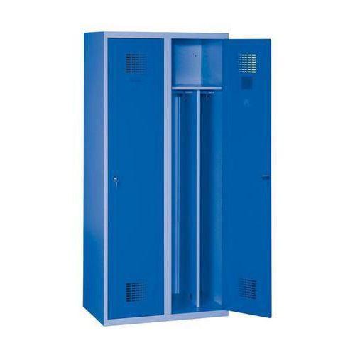 Svařovaná šatní skříň Drake odlehčená, 2 oddíly, modrá