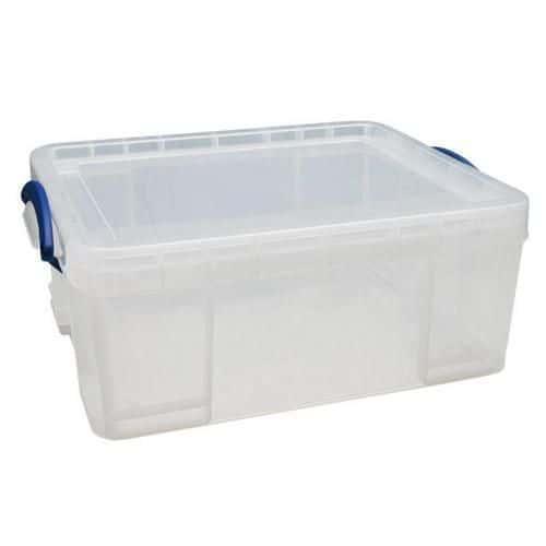 Plastový úložný box s víkem na klip, průhledný, 18 l