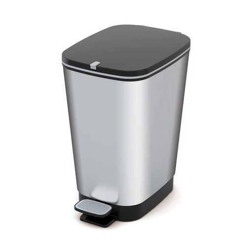 Plastový odpadkový koš Chic, objem 35 l, stříbrný