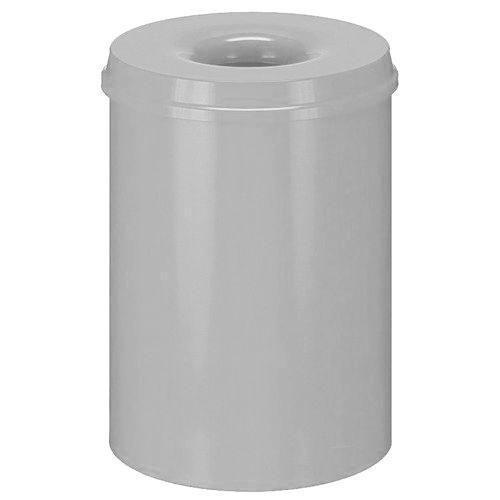 Kovový samozhášecí odpadkový koš Hole, objem 30 l, šedý