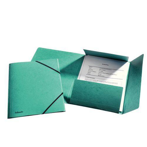 Složka tříklopá s gumou, zelená