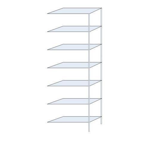 Kovový regál, přístavbový, 300 x 100 x 40 cm, 2 300 kg, 7 polic, stříbrný