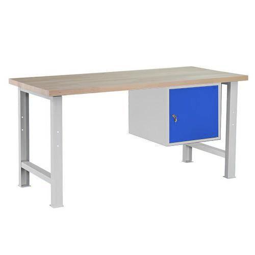 Dílenský stůl Weld se skříňkou 41 cm, 84 x 170 x 80 cm, šedý