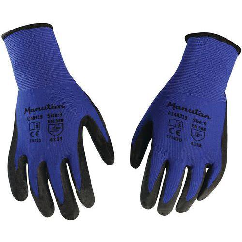 Nylonové rukavice Manutan polomáčené v nitrilu, modré/černé