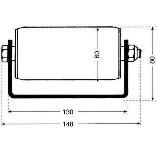 Válečkový dopravník pro palety, šířka 148 mm, U profil, rozteč 1