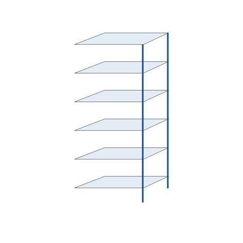 Kovový regál, přístavbový, 250 x 100 x 50 cm, 2 000 kg, 6 polic, modrý