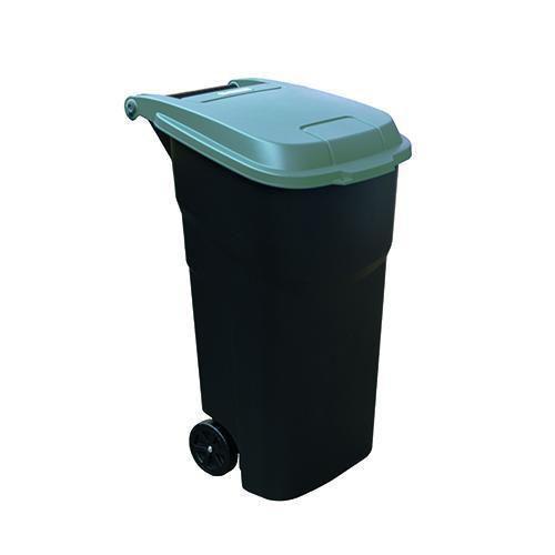Plastová venkovní popelnice Manutan na tříděný odpad, objem 100 l, víko šedé