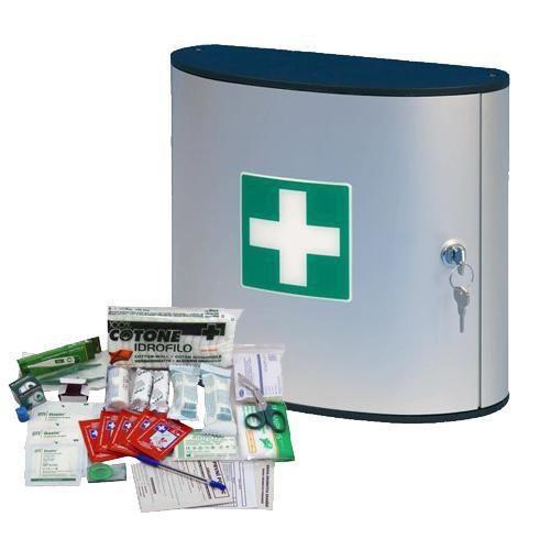 Kovová nástěnná lékárnička, uzamykatelná, 28 x 30,2 x 11,8 cm, s