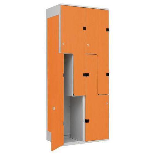 Šatní skříň William s dřevěnými dveřmi, 4 boxy, šedá/buk