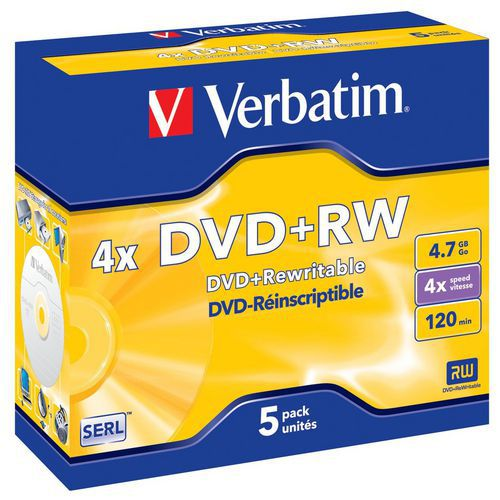 Verbatim DVD+RW 4,7 GB 4x, AZO, jewel box, 5 ks