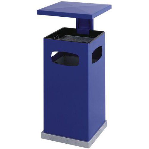 Kovový venkovní odpadkový koš s popelníkem, objem 70 l, modrý - Prodloužená záruka na 10 let