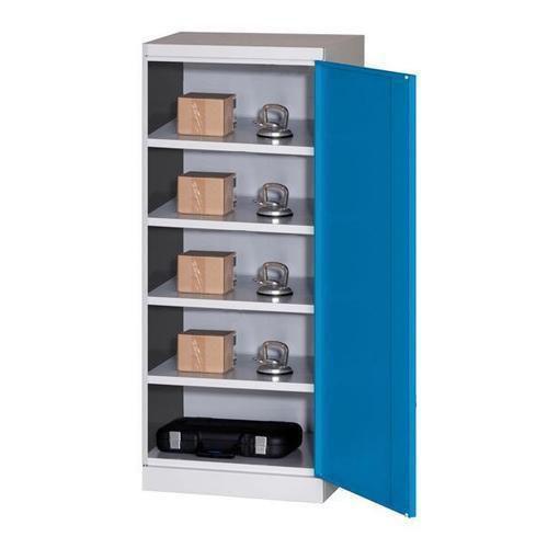Kovová dílenská skříň, 199 x 80 x 43,5 cm, šedá/modrá