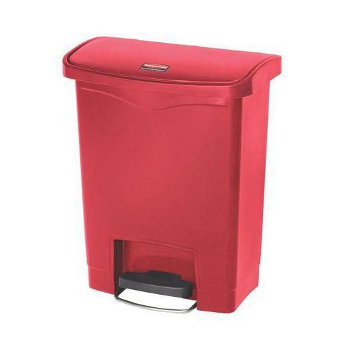 Plastový odpadkový koš Rubbermaid Front Step, objem 30 l, červený
