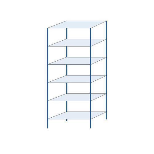 Kovový regál, základní, 250 x 100 x 50 cm, 2 000 kg, 6 polic, modrý