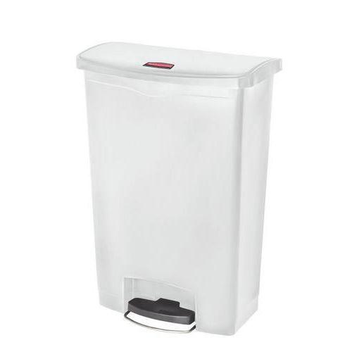 Plastový odpadkový koš Rubbermaid Front Step, objem 90 l, bílý - Prodloužená záruka na 10 let