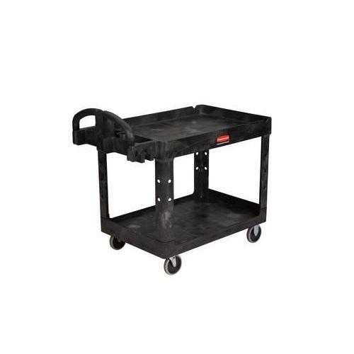Plastový policový vozík s madlem, do 220 kg, 2 police s vyvýšenými hranami, 150 x 66 cm - Prodloužená záruka na 10 let