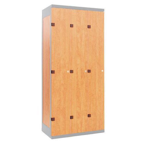 Šatní skříň Oliver s dřevěnými dveřmi, 3 oddíly, šedá/buk