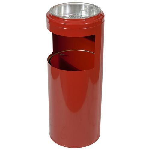 Kovový odpadkový koš s popelníkem, objem 10 l, červený